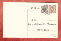 Wuerttemberg DP 11/12 + ZF, Zudruck Oberamtsbaumeister Baumann, Aidlingen Nach Boeblingen 1917 (27116) - Postwaardestukken