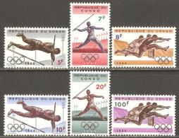 Congo - Kinshasa 1964 Mi# 169-174 ** MNH - 18th Olympic Games, Tokyo - Verano 1964: Tokio