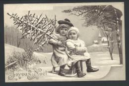 CPA - Fantaisie - Voeux - Joyeux Noël - Christmas - Enfants - Girl - Luge - Traineau - Relief - Embossed  // - Noël