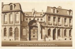 Paris - Caisse D´Epargne Et De Prévoyance - Caisse Centrale, Rue Coq Héron Et Rue Du Louvre - Carte Sépia Non Circulée - Banken