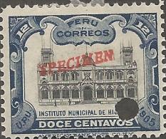 E)1905 PERU,NATIONAL INSTITUTE OF HISTORY, SPECIMEN, PUNCH PROFF, USED - Peru