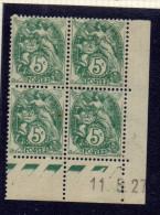 CD0022    N°111 - 5c Type Blanc - Coin Daté 11/5/27 - Avec Charnière * (1 Point De Rouille Et 1 Dent Manquante)