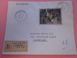 """LETTRE Recommandé TARIF+du 1er ECHELON étiquette""""R""""de Guichet SAINT-ETIENNE Badouillére=>MARSEILLE Aff.TIMBRE SEUL 1963 - Marcofilia (sobres)"""