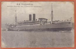 Carte Postale Paquebot  S.S. Valdivia  Société Générale Des Transports Maritimes Trés Beau Plan - Paquebots