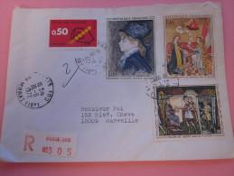 """LETTRE Recommandé TARIF 1er ECHELON étiquette""""R"""" De Guichet PARIS 100=>MARSEILLE Aff. Composé Tableaux  1972 - Poststempel (Briefe)"""