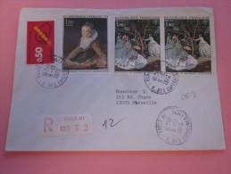 """LETTRE Recommandé TARIF 1er ECHELON étiquette""""R"""" De Guichet PARIS 81 =>MARSEILLE Aff. Composé Tableaux 1972 - Poststempel (Briefe)"""
