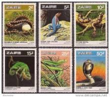 Congo-Zaire**SNAKES- REPTILES-PYTHON-MAMBA-COBRA-CHAMELEON-LIZARD-6vals-1986-MNH - República Democrática Del Congo (1997 - ...)