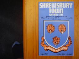 FOOTBALL PROGRAMME FEAGUE CUP,1st.ROUND,1st.LEG For 1976-77 SHREWSBURY V WALSALL. - Sports