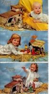 C.P.A. Glacée Noël Bébé Et Fillette Autour De La Crèche - Joyeux Noël - Photochrom 1833 - 3 Cartes - Santa Claus