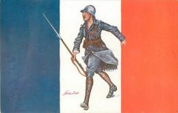 Guerre 14-18 Illustrée Par Sager, Drapeaux Alliés, France, Poilu Avec Fusil Baïonette, Verso Publicité Welcome - Guerre 1914-18