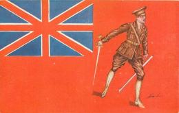 Guerre 14-18 Illustrée Par Sager, Drapeaux Alliés, Royaume-Uni, Soldat Avec épée, Verso Publicité Welcome - Guerre 1914-18