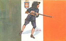 Guerre 14-18 Illustrée Par Sager, Drapeaux Alliés, Italie, Soldat Avec Fusil, Verso Publicité Welcome - Guerre 1914-18