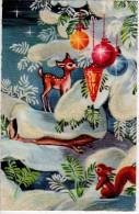 C.P.S.M. Glacée Kitsch 60's-70's - Avec Paillettes - Sapin Sous La Neige, écureuil, Bambi, Boules De Noël, Décorations - Santa Claus