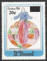 St Vincent 2003 20c Overprint On $2.50 1985 Christmas Children Drawing Mint Stamp. Rare 7,300 Stamps Overprinted - St.Vincent (1979-...)