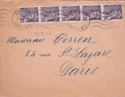 LETTRE 1945   AU TARIF DE 2Frs BELLE BANDE DE 5 MERCURE 40c. ANTIBES POUR PARIS / 6757 - France