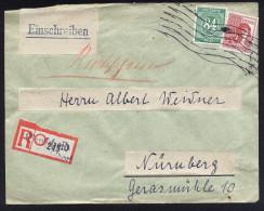 A3617) Kontrollrat R-Rückschein-Brief Von Burscheid 8.2.48 Nach Nürnberg - Zone AAS
