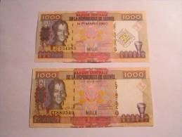 --------2- BILLETS-1000-francs-2006-et-2010-differents-neuf--GUINEE - Guinea