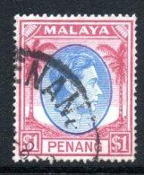 Malaysian States - Penang - 1949-52 KGVI - $1 Blue & Purple Used (SG 20) - Penang