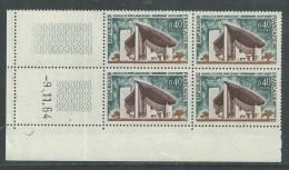France N° 1435 XX Chapelle De Ntre Dame De Ronchamp En Bloc De 4 Coin Daté Du 9 . 11 . 64 Sans Trait, Sans Charnière, TB - 1960-1969