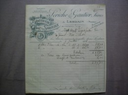 LESDAIN NORD LERICHE & GAUTHIER FRERES BRASSERIE VINS & SPIRITUEUX FACTURE DU 9 JUILLET 1928 - France