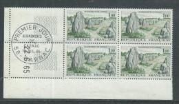 France N° 1440 XX Alignement De Carnac En Bloc De 4 Coin Daté Du 22 . 6 . 65, Sans Trait, Sans Ch., Oblitéré Sur Bdf, TB - 1960-1969