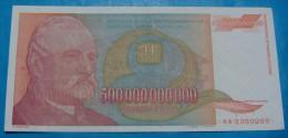 PRINTING ERROR YUGOSLAVIA 500,000,000,000 DINARA 1993, XF, PICK-137, VERY RARE. BACK PRINTED ON FRONT. - Yougoslavie