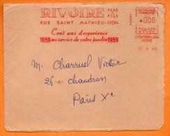 LYON AU SERVICE DE VOTRE JARDIN 1960 Devant De Lettre N° EMA 2042 - Marcophilie (Lettres)