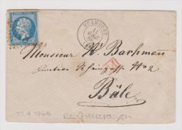 France Mulhouse 1868-04-11 Grenzrayon Brief Nach Basel - 1863-1870 Napoléon III Lauré