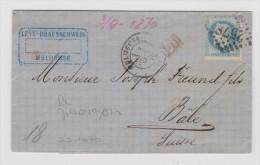 France 1870-09-23 Mulhouse RL Grenzrayon Brief Nach Basel - 1863-1870 Napoléon III Lauré