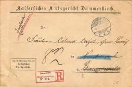 ALS40 - ALSACE Lettre Recommandée Du Tribunal De Dannemarie 1912 - Alsazia-Lorena