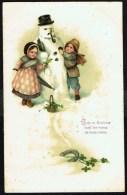 Couple D'enfants Confectionnant Un Bonhomme De Neige - Circulé - Circulated - Gelaufen - 1913. - Enfants
