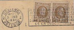 1931 BELGIUM COVER Card SLOGAN Pmk PUT STAMPS IN TOP RIGHT CORNER (postcard Ostende Casino ) - Belgium