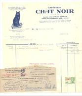 """Facture - Caféterie """" CHAT NOIR """" Liège 1945 - Café - Firme Van Zuylen Frères- Cachet Pauquet-Lambert Dolhain - Factures & Documents Commerciaux"""