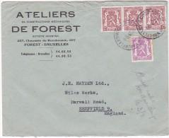 1946 Ateliers De Forest BELGIUM  COVER To GB Multi Heraldic Lion Stamps - Belgium