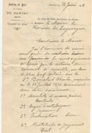 COURRIER CABINET DU JUGE DE PAIX DE BARJAC (GARD) 1908 - France