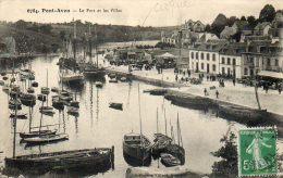 CPA - PONT-AVEN (29) - Aspect Du CIRQUE Méridional Dans Le Port Et Vue Des Villas En 1913 - Pont Aven