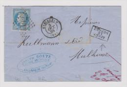 """France Heimat 68 Haut-Rhin Ensisheim 1868-10-05 """"Après Le Départ"""" Im Kasten Brief Nach Mulhouse - 1863-1870 Napoléon III Lauré"""