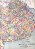 MAPA DE LA PROVINCIA DE BUENOS AIRES REPUBLICA ARGENTINA AÑO 1935 OFICINA CARTOGRAFICA MONTENEGRO PAZ ORIGINAL - Geographische Kaarten