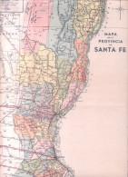 MAPA DE LA PROVINCIA DE SANTA FE REPUBLICA ARGENTINA AÑO 1935 OFICINA CARTOGRAFICA MONTENEGRO PAZ ORIGINAL - Geographische Kaarten