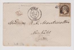 Frankreich Brief Paris 1870-01-02 Mit Mi#29b Nach Neuchatel NE - 1863-1870 Napoléon III Lauré