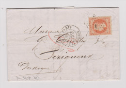 Frankreich Brief Paris 1870-01-20 Mit Mi#30 Nach Périgueux - 1863-1870 Napoléon III Lauré