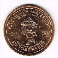 1991 Kitchener-Waterloo $2 Oktoberfest Token - Canada