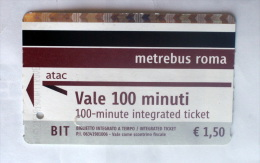 ITALIA -   METRO TICKETS ROME, 2015  USED - Metropolitana