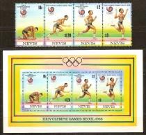 Nevis 1988 Yvertn° 494 A-D Et Bloc 21 *** MNH Cote 14 Euro Sport - St.Kitts-et-Nevis ( 1983-...)