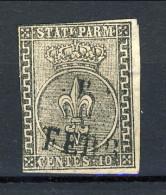 Parma 1852 N. 2 C. 10 Bianco Usato, Due Margini Giusti, Cat. € 250 - Parma