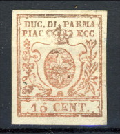 Parma 1857-59 N. 9 C. 15 Vermiglio MNG (senza Gomma) Firmato Biondi Cat. € 175 - Parma