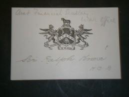CARTON AVEC BLASON WAR OFFICE FINANCIAL SECRETARY RALPH KNOX . K.C.B. - Unclassified