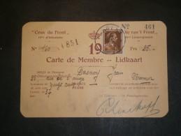 CEUX DU FRONT 19e D'Infanterie - Carte De Membre 1937 Au Nom De DASNOY Jean - Unclassified