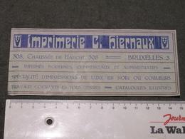 IMPRIMERIE C HIERNAUX - BRUXELLES 3 CHAUSSEE DE HAECHT 308 - Reclame