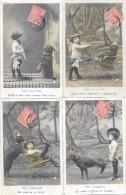 8370 - Lot De 4 CPA : Série Les Deux Camarades, Enfant Et Son Chien - Scene & Paesaggi